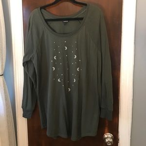 Olive green, moon and stars light sweater